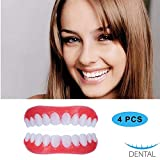 4pcs Temporary Smile Cosmetic Teeth Comfortable Fake Denture White Veneers Instant Snap on for Sparse Crowded or Missing