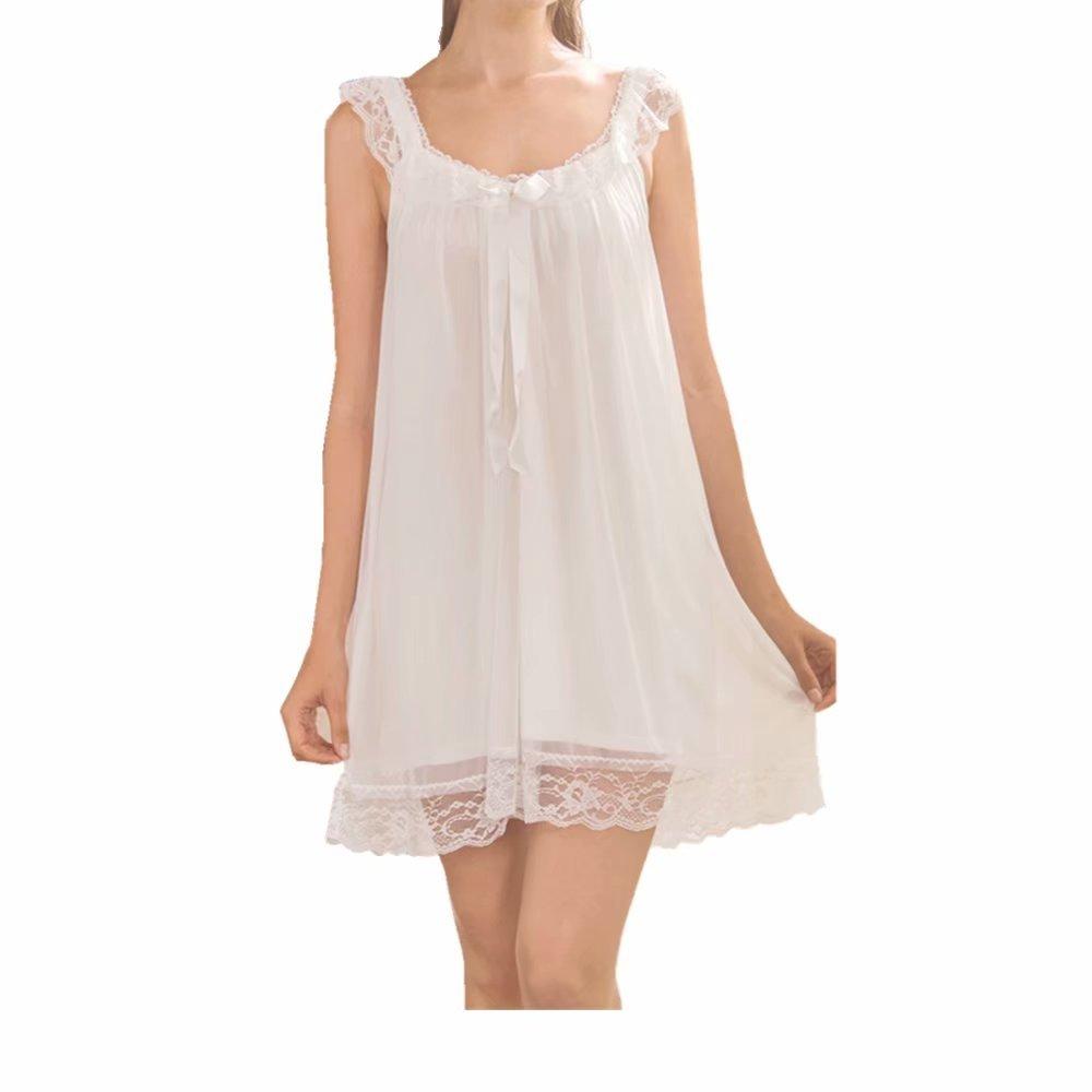 SPRINGMING Nachtkleid Negligee Sleepshirt Damen Negligee V-Ausschnitt Nachtkleid Nachthemd Spitze Nachtw/äsche Sleepwear