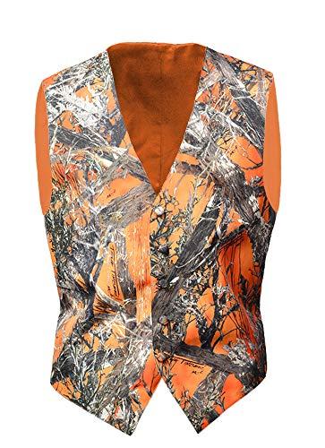 Camo Vests for Men Camouflage Formal Waistcoat Wedding Groom Casual ()