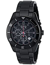 Bulova Men's 98B231 Marine Star Analog Display Japanese Quartz Black Watch