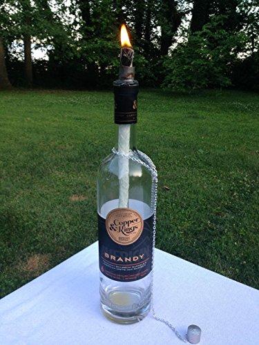 Tiki Torch - Copper Kings Brandy Bottle - Oil Lamp - One or Two - Outdoor Lighting - Garden Decor - Bourbon Decor - Kentucky Decor