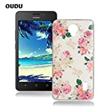 OuDu Silicone Case for Huawei Y635 Soft TPU Rubber Cover Flexible Slim Case Smooth Lightweight Skin Ultra Thin Shell Creative Design Cover - Pink Flower