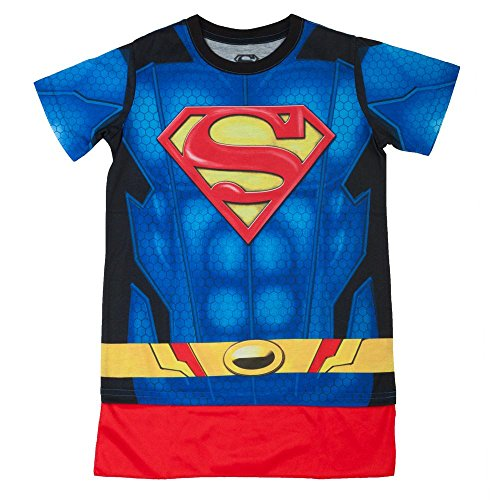 DC Superman Caped Costume Tee, Youth (Large (10/12)) (Superman T Shirt With Cape)