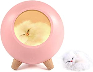 Room Decor for Women,GoLine Cat Night Light for Bedroom,Cat Lover Gifts for Women Wife Mom Teen Girls,Cute Cat House Christmas Birthday Gifts(Pink).