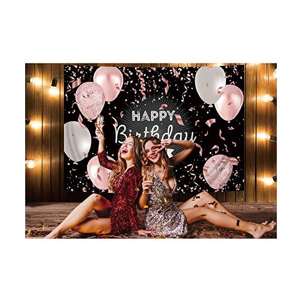 Haboke Birthday Decorations 7x5ft Polyester Backdrop Black And Rose Gold Pink And White Balloon Photography Background 40thbirthdaysayings Org