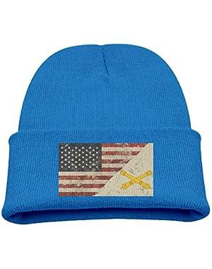 US Army Field Artillery US Flag Boy Girl Beanie Hat Knitted Beanie Knit Beanie