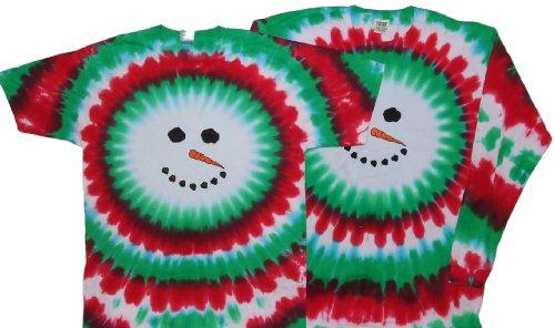 Tie Dyed Shop Christmas Snowman Tie Dye T Shirt-Longsleeve-3X-Multicolor ()