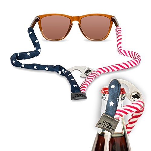 Sunglass Straps by Gobi Straps – Built-In Bottle Opener | Sunglass Retainers, Sunglass Lanyard, Sunglass Cord | Quick Drying | Patriotic – Red, White & Blue – American - Sunglasses Strap Accessories