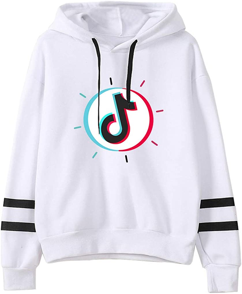 PUUE Fashion TIK TOK Striped Long Sleeve Hoodie Pullover Sweatshirt Jumper for Funs