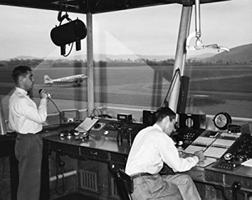 Posterazzi Two Technicians Working in an air Traffic Control Tower Airport Elmira New York State USA Poster Print (18 x 24)