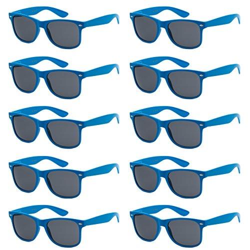 WHOLESALE UNISEX 80'S STYLE RETRO BULK LOT SUNGLASSES (Electric Blue, Smoke)]()