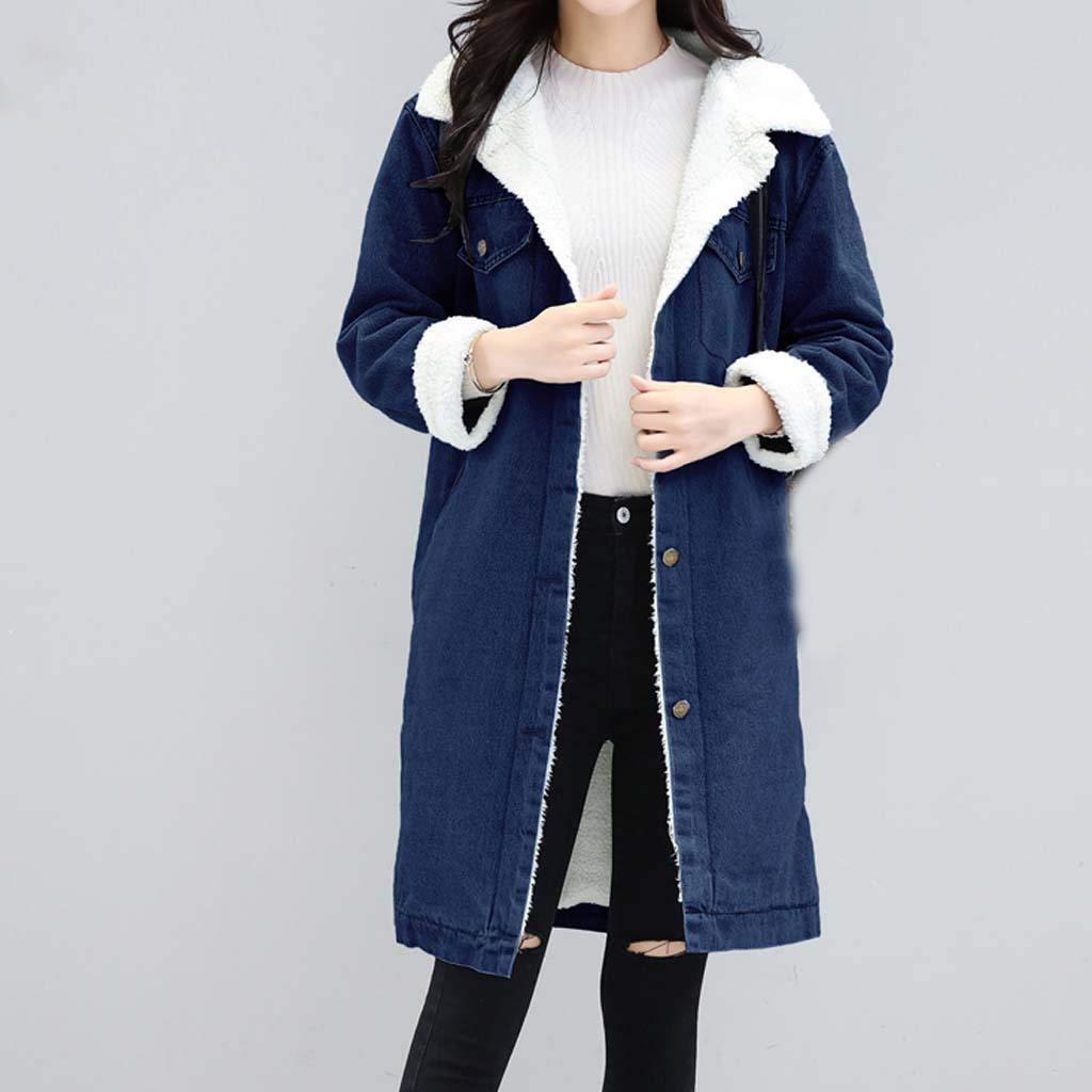 JMETRIE Blue Jean Jacket Punk Long Outwear Womens Thicken Warm Faux Fleece Denim Coat
