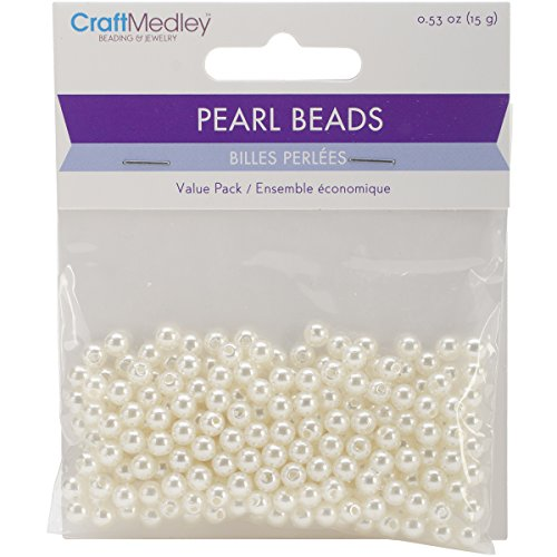 earl Beads (265 Pack), 5mm, Ivory (Sewing Pearls)