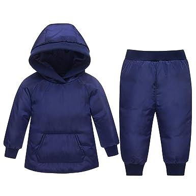 3056405e8 Amazon.com  Baby Boys Girls 2PCS Thicken Down Snowsuits Warm Hooded ...