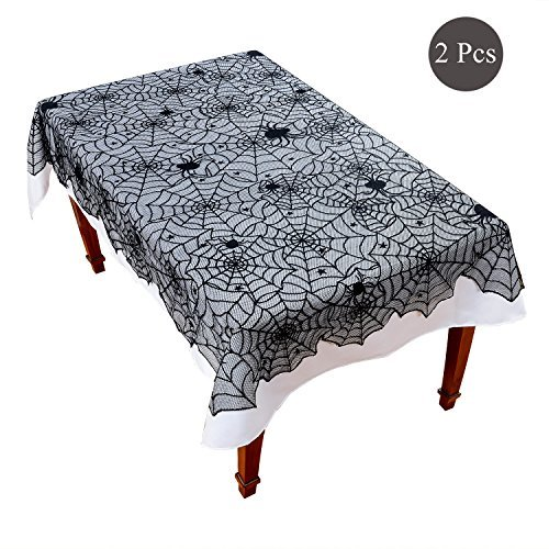 Black Lace Tablecloth Set - 2 Pieces Spider Web Gothic Punk Polyester Fabric Rectangle Table Cover for Thanksgiving Festival Party Kitchen Home Decoration Including 1 Black Overlay 1 White Liner]()
