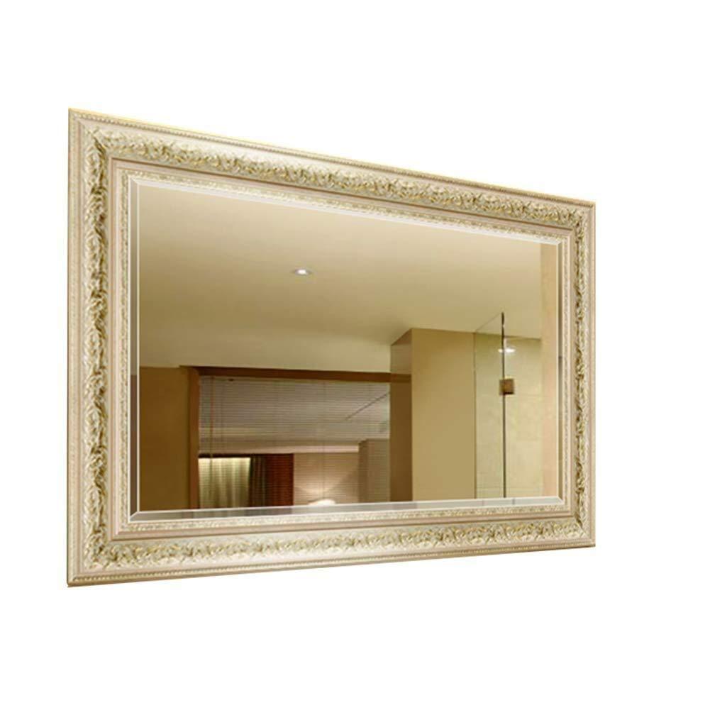 Bathroom Mirror,Wall-Mounted Bathroom Bathroom Mirror European Wall-Mounted Bathroom Mirror Vanity Mirror Bathroom Mirror (Size : 80100cm)