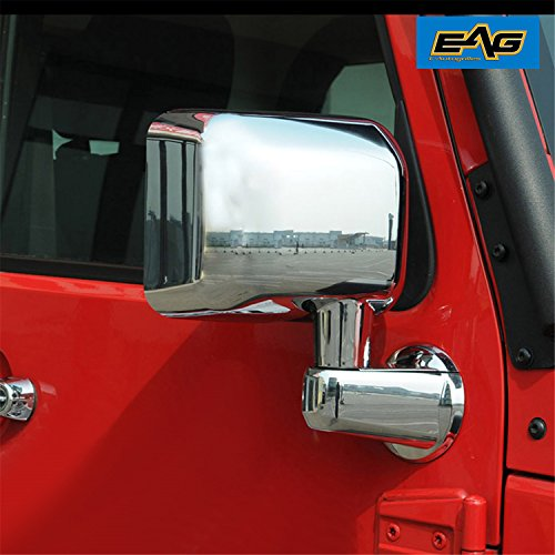 EAG Mirror Cover Triple Chrome Plated ABS Full (Arm Cover included) Fit for 07-18 Jeep Wrangler JK (Wrangler Covers Mirror Chrome Jeep)
