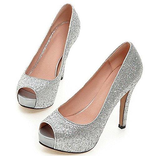 COOLCEPT Mujer Moda Sin Cordones Tacon de Aguja Bombas Zapatos Peep Toe Shiny Glitter Sandalias Plata