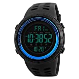 Men's Digital Sports Watch Waterproof Military Stopwatch Countdown Auto Date Alarm-Blue