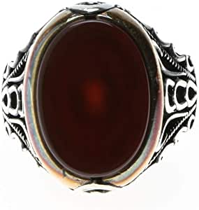خاتم فضة تركي بحجر عقيق للرجال ، 1154