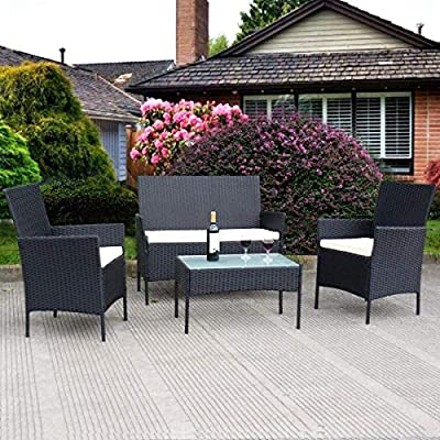 Tangkula 4 pcs Wicker Furniture Set Outdoor Patio Furniture Rattan Wicker Sofas Garden Lawn Poolside Cushioned Seat Conversation Set with Removable Cushions & Coffee Table Patio Furniture (Black 001)
