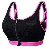 newlashua Women's Front Closure Sports Bra Padded Push Up Workout Wirefree Bras XX-Large