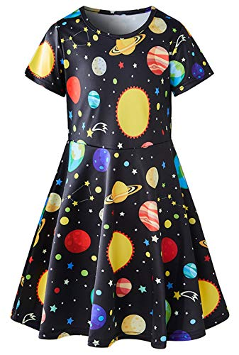 Galaxy Dress 4T Girls Comfy Planet Earth Sundress Toddler 80S Vintage Birthday Party Outfits Short Sleeved Space Twirl Dresses Home Playwear Blue Classic School Girl Outfit