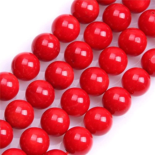 Bracelet Coral Red Chip (9mm Red Coral Beads Round Loose Gemstone Beads for Jewelry Making Strand 15 Inch (44-46pcs))