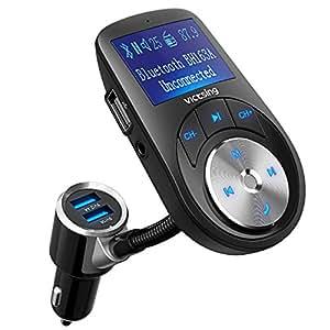 VICTSING Transmisor FM Bluetooth Manos Libres,3 Puerto USB