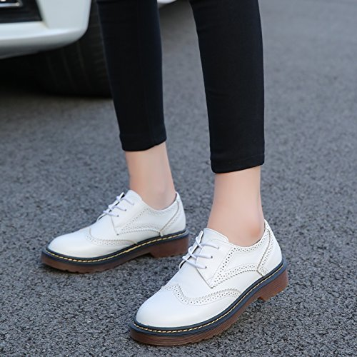 Oxfords Wingtip Leather Low Up Heel Flat Meeshine Vintage Brogue Dress Lace White Womens Shoes wFHnqqzIE