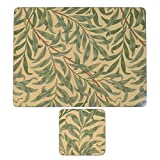 MORRIS & CO WILLOW BOUGHS GREEN SET OF 6 CORK BACKED PLACEMATS & COASTERS