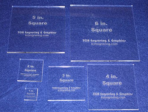 Square Templates. 1'', 2'', 3'', 4'', 5'', 6'' - No Seam -Clear ~1/4'' by TCR Templates