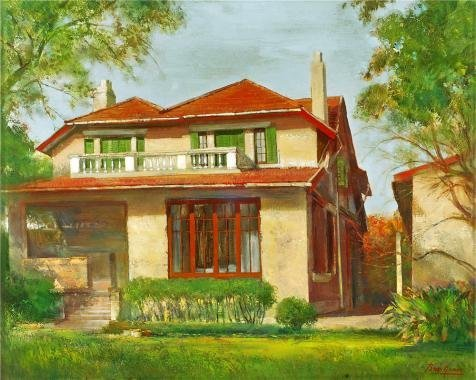 'a Red Roof House' Oil Painting, 10x13 I - Red Faux Weave Wallpaper Shopping Results