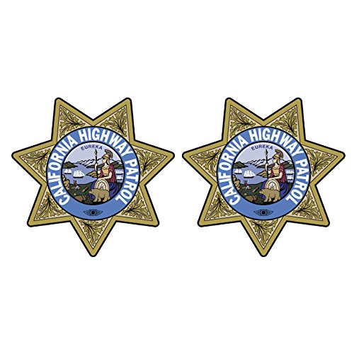 Two Pack California Highway Patrol Seal Sticker FA Graphix Decal Self Adhesive Vinyl CHP chips ()