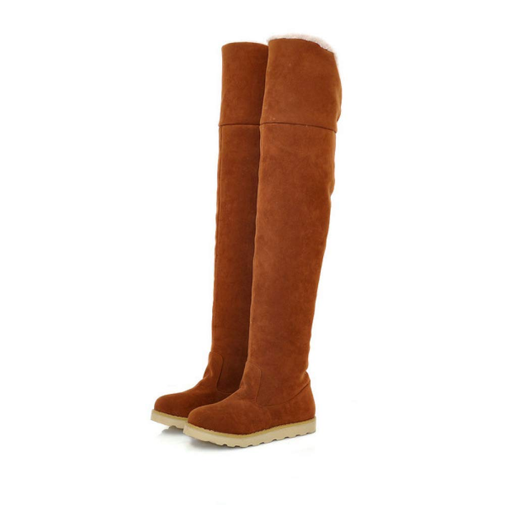 ZHRUI Damenstiefel - Winter warme Stiefel Damenstiefel Overknee-Stiefel Flache Rutschfeste Stiefel (Farbe   Gelb Größe   34)