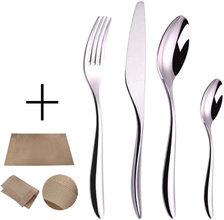 Set de Cubiertos de Mesa 24 Piezas, Juego de cucharas de Tenedor y Cuchillo de Acero Inoxidable Vajilla de Comida Occidental para el hogar Servicio para 6 - Fiesta/Cocina/Restaurantes