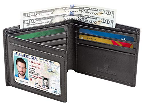 Men's Bifold Wallet - RFID Blocking Cowhide Leather Vintage Travel Wallet (Nappa black-Smooth top grain leather)