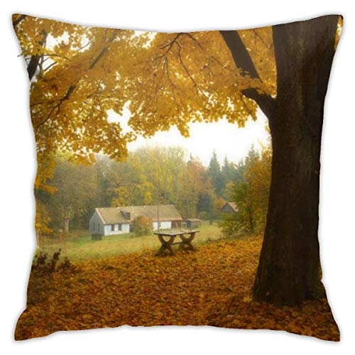 (Eratdatd Customized Autumnal Landscape with Forests 45 X 45 cm Pillow Cover, Sofa Bed Pillow Durable, Machine Wash Pillow Cover)