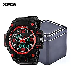 XFCS Men's Large Dial Digital waterproof Sport Watch(With Retail Metal Box)-Red