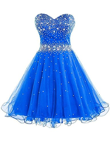 Snowskite Women's Short Beads Strapless Tulle Homecoming Cockital Party Dress Royal Blue - Train Royal Strapless Length