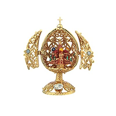 danila-souvenirs Russian Faberge Style Carved Egg Church of Savior on Blood St.Petersburg Gold Color 2.6