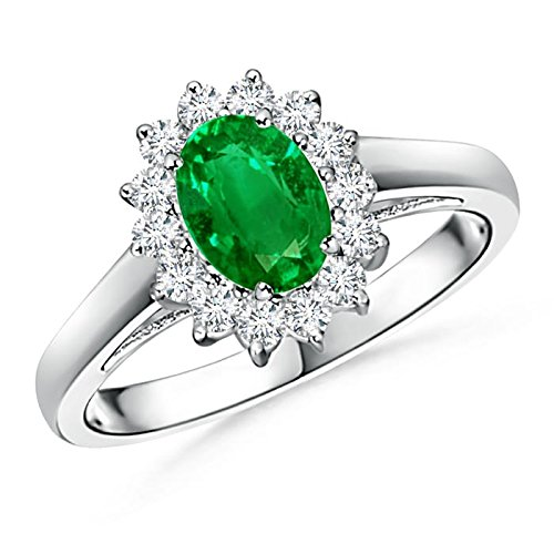 Christmas Offer - May Birthstone - Princess Diana Inspired Emerald Ring for Women with Diamond Halo in 14K White Gold (7x5mm Emerald) by Angara.com