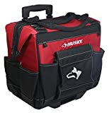 Husky GP-44316AN13 14'' 600-Denier Red Water-Resistant Contractor's Rolling Tool Tote Bag with Telescoping Handle