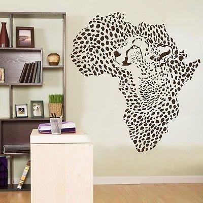 African Wild Animal Leopard Cheetah Wall Decal Vinyl Decor Sticker Wall Art by BHD Vinyls