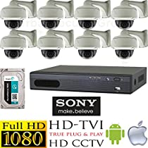 USG HD-TVI 8 Camera 1080P CCTV Kit: 8x HD-TVI 1080P 2MP 2.8-12mm Vari-Focal Lens Dome Cameras With Wall Mount Brackets + 1x 8 Channel Full 1080P HD-TVI 1080P DVR + 1x 3TB HDD *** High Definition Video Surveillance For Your Home or Business