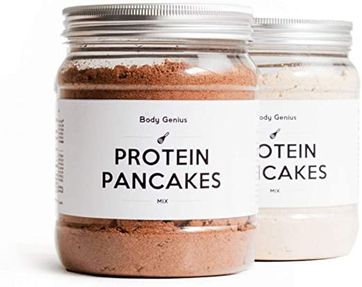 BODY GENIUS Dúo Protein Pancakes (Clásicos y Chocolate). 2x400g. Tortitas Proteicas Sin Azúcar Añadido. Con Proteína Whey Isolate y Harina de Avena. ...