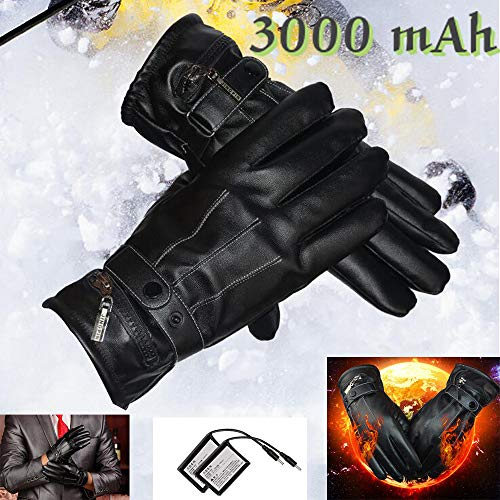GOODKSSOP 1 Pair 3000mAh Capacity Rechargeable Battery Heated Gloves, Electric Gloves, Leather Hands Fingers Keep Warmer Windproof Winter Outdoor/Ski / Riding/Work / Motorcycle Bicycle Glove (L)