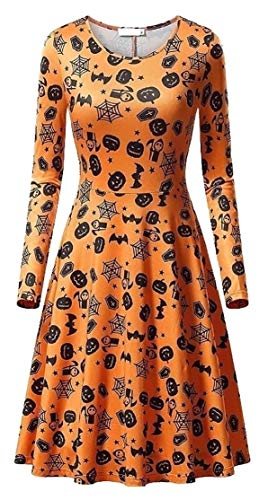 M&S&W Women's Halloween Party Dresses Scary Bat Pumpkin Spider Smock Swing Dress Funny Dresses 2 XXS -