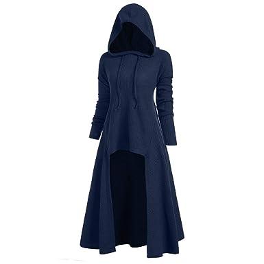 aabd85a22ca Womens Gothic Punk Asymmetric Hem Long Sleeve Loose Hoodies Dress Cloak  Costumes Vintage High Low Sweatshirts