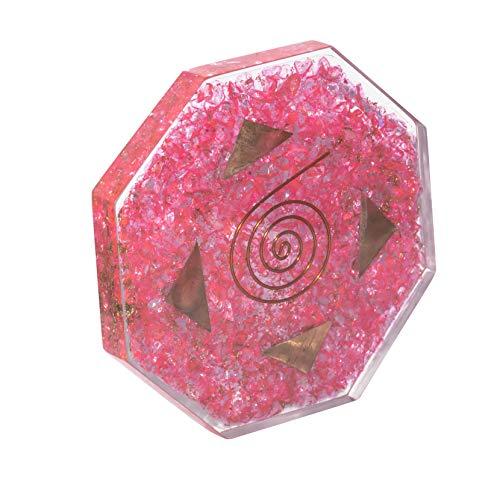 Crocon Pink Onyx Orgone Octagon Gemstones Vastu Plate Vedic Astrology Wealth Crystal Energy Generator Size: 3.5-4